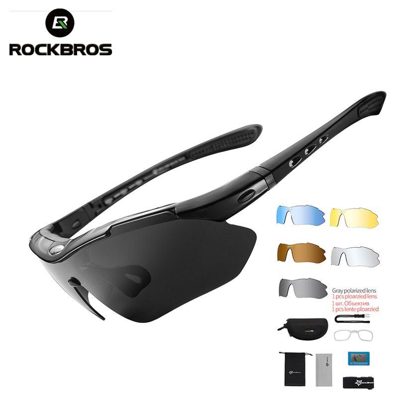 ROCKBROS Polarized Sports Men Sunglasses Road Cycling Glasses Mountain Bike Bicycle Riding Protection Goggles Eyewear 5 Lens