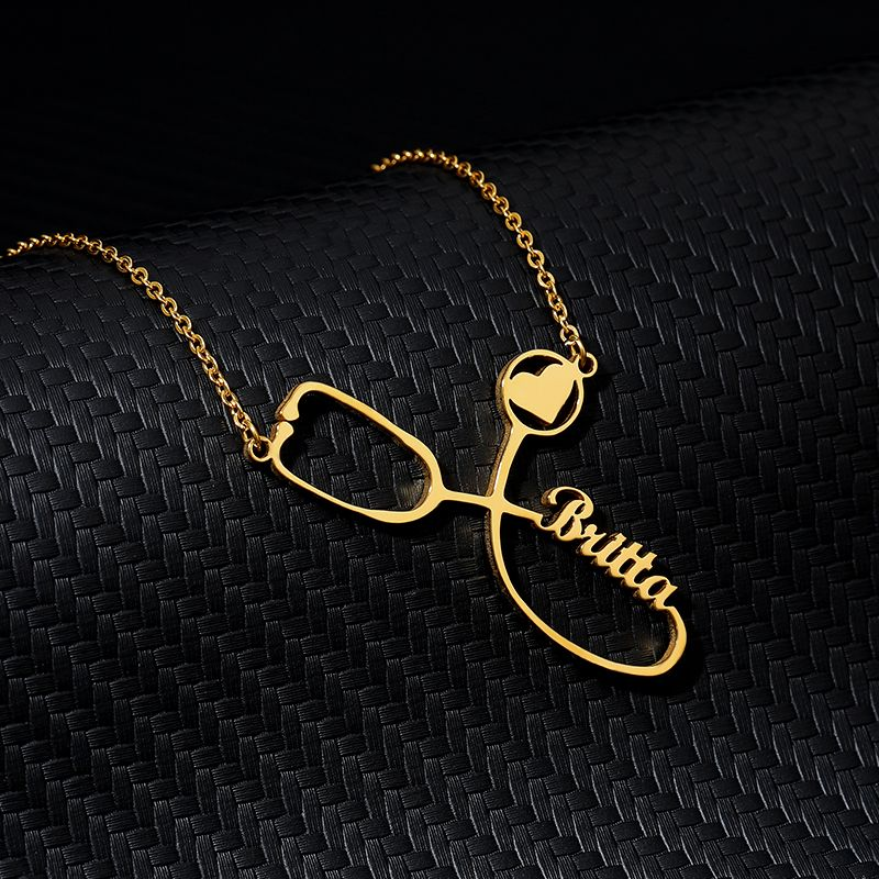 Custom Necklace Stainless Steel Gold Chain Engraved Stethoscope Necklace Personalized Name Necklaces For Women Men Boho Jewelry