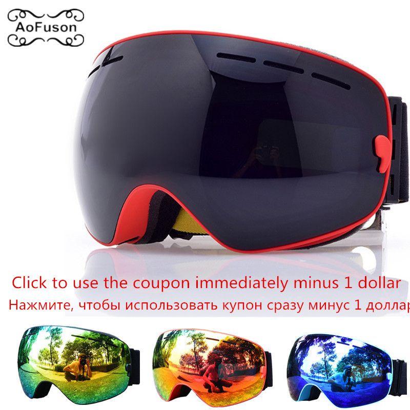 Ski Goggles, Snowboard Glasses Double Layers Anti-fog UV400 Lens Big Mask Men Women Winter Snow Snowmobile Gafas Skiing Eyewear
