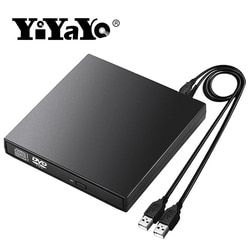YiYaYo External DVD Drive Optical Drive USB 2.0 CD ROM Player CD-RW Burner Writer Reader Recorder Portatil for Laptop Windows PC