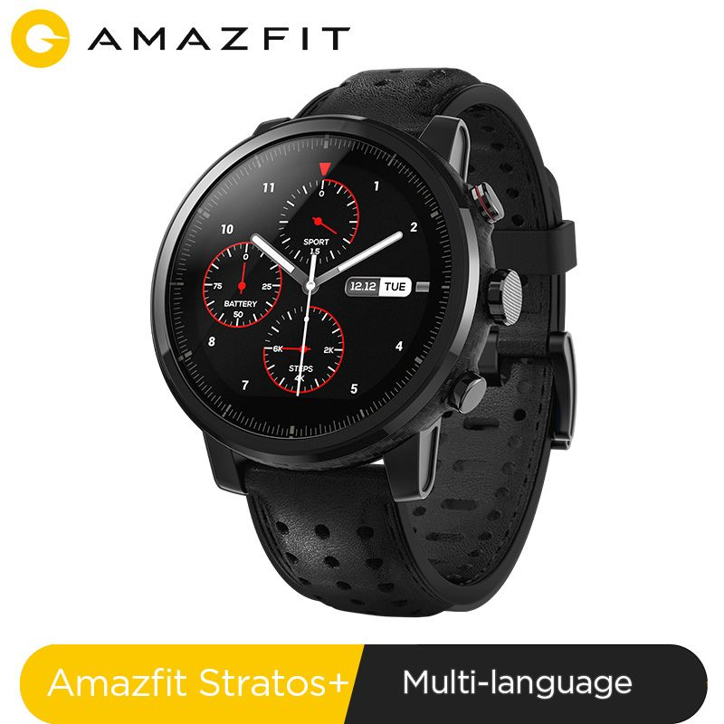 2019 nouveau Amazfit Stratos + montre intelligente phare bracelet en cuir véritable boîte cadeau saphir 2S