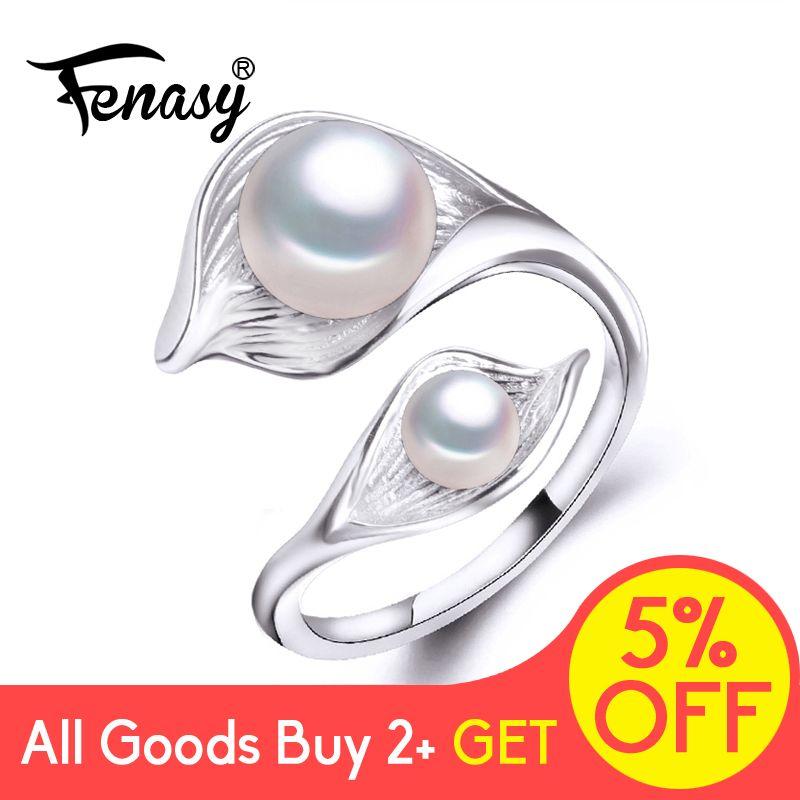 FENASY naturel eau douce Double perle anneau Boho mode feuille déclaration Cocktail 925 Sterling argent anneaux pour femmes bijoux