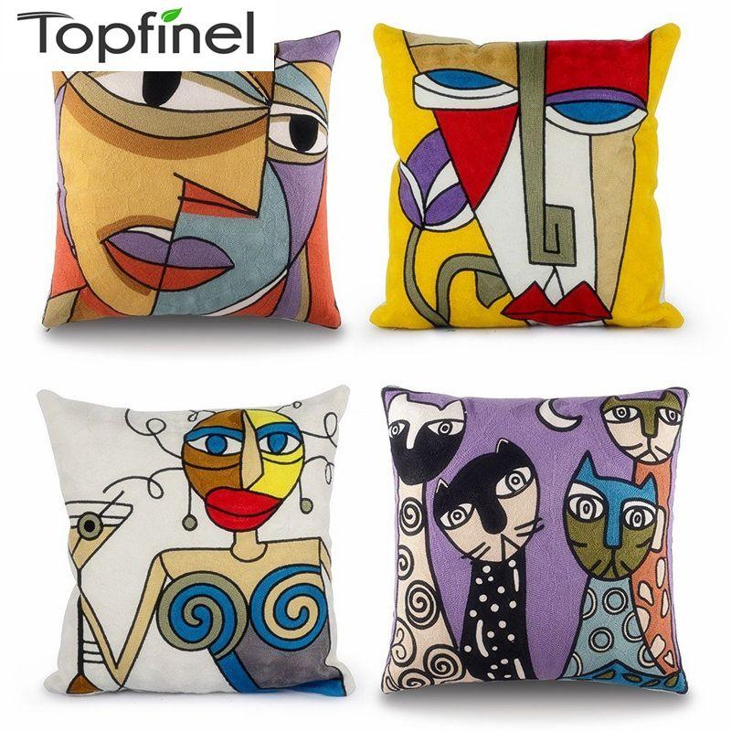 Topfinel housse de coussin Picasso brodé décoratif taies d'oreillers coton décoration créative pour la maison canapé bâches de voiture