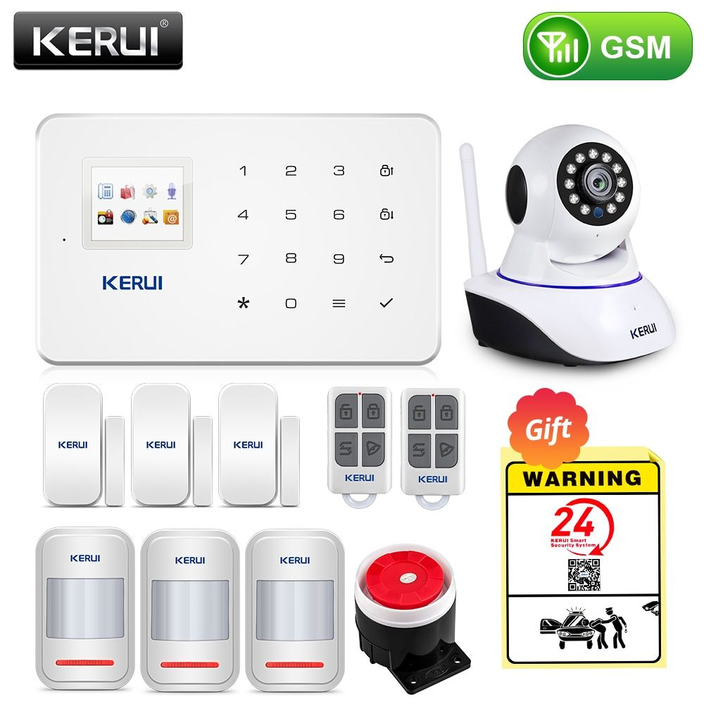 KERUI sans fil maison WIFI GSM système d'alarme de sécurité Kit APP contrôle avec cadran automatique détecteur de mouvement capteur système d'alarme antivol