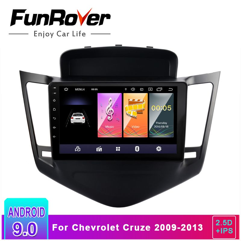 FUNROVER 2.5D + IPS Android 9.0 Auto Radio Multimedia DVD Player Für Chevrolet Cruze 2009-2013 gps navigation mit lenkung rad