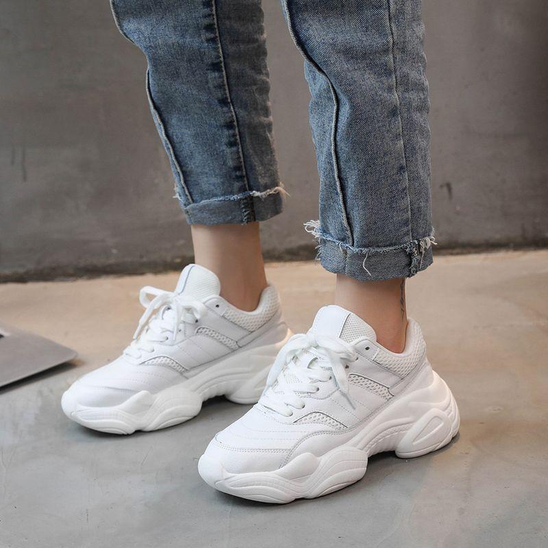 Tleni 2018 chaussures de course Femme automne confortable respirant PU + Mesh chaussures plates Femme plate-forme baskets femmes Chaussure Femme ZK-56