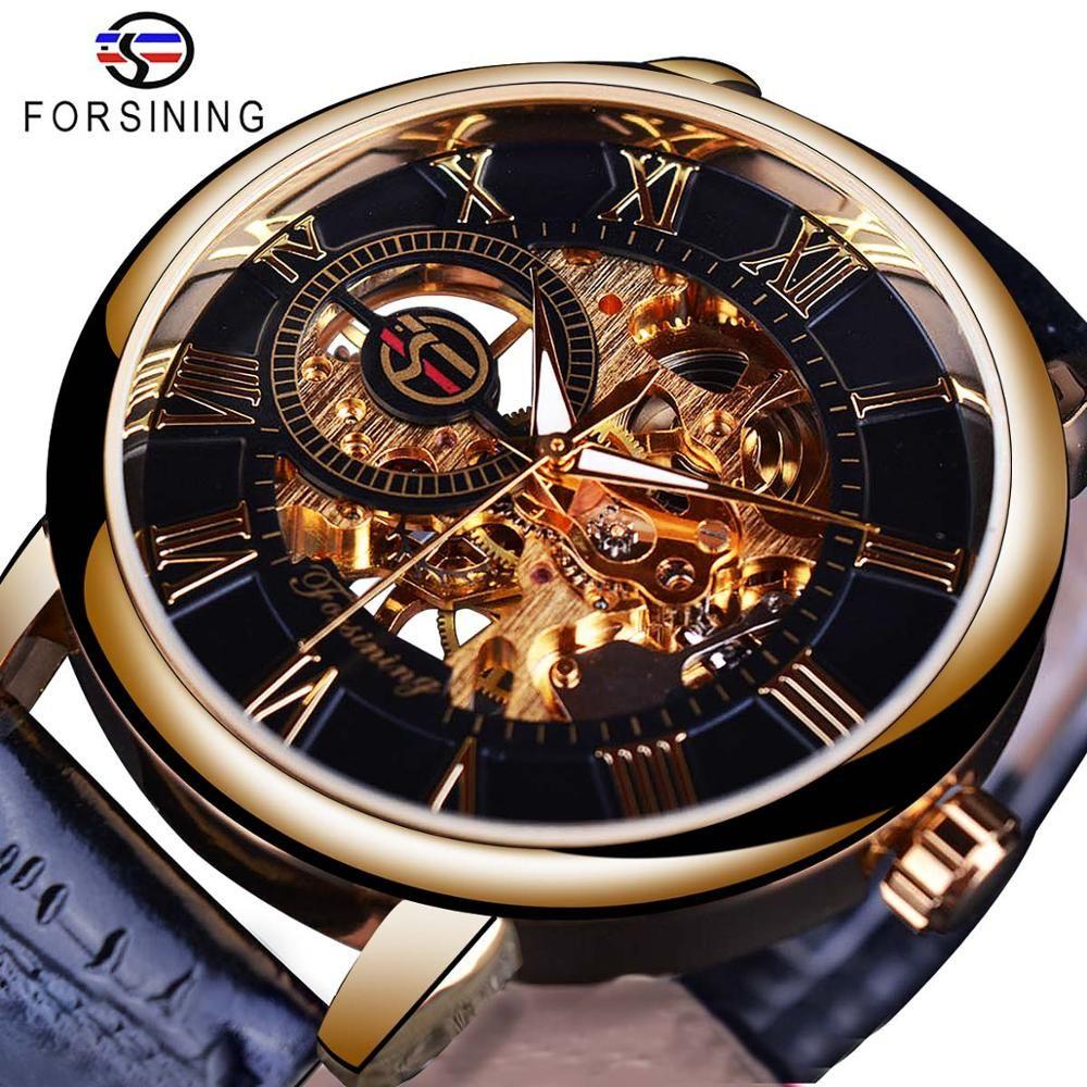 Forsining hommes montres Top marque de luxe mécanique squelette montre noir doré 3D conception littérale numéro romain cadran noir horloge