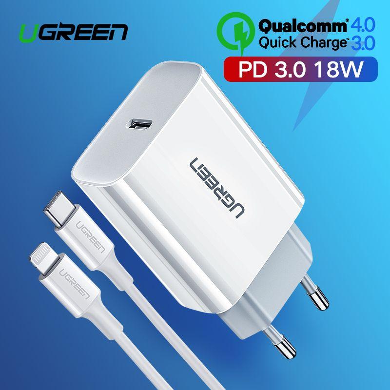 Ugreen Charge rapide 4.0 3.0 QC PD chargeur 18W QC4.0 QC3.0 USB type C chargeur rapide pour iPhone 11 X Xs 8 Xiaomi téléphone PD chargeur