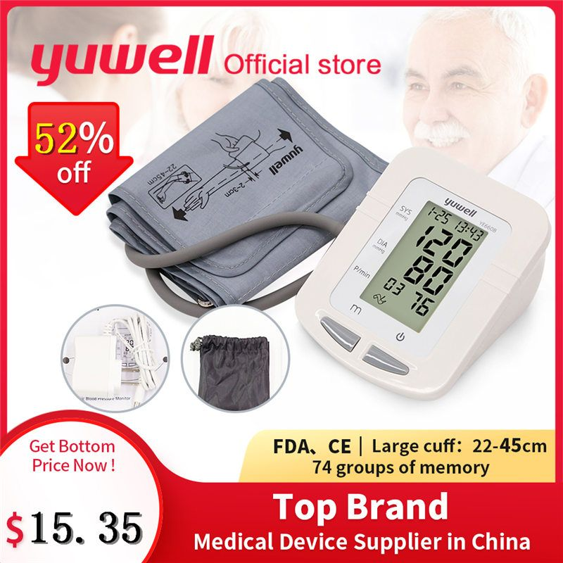 Yuwell 660B Arm Blood Pressure Monitor Large LCD Cuff Medical Nurse Device Sphygmomanometer Blood Pressure Home Health Dector