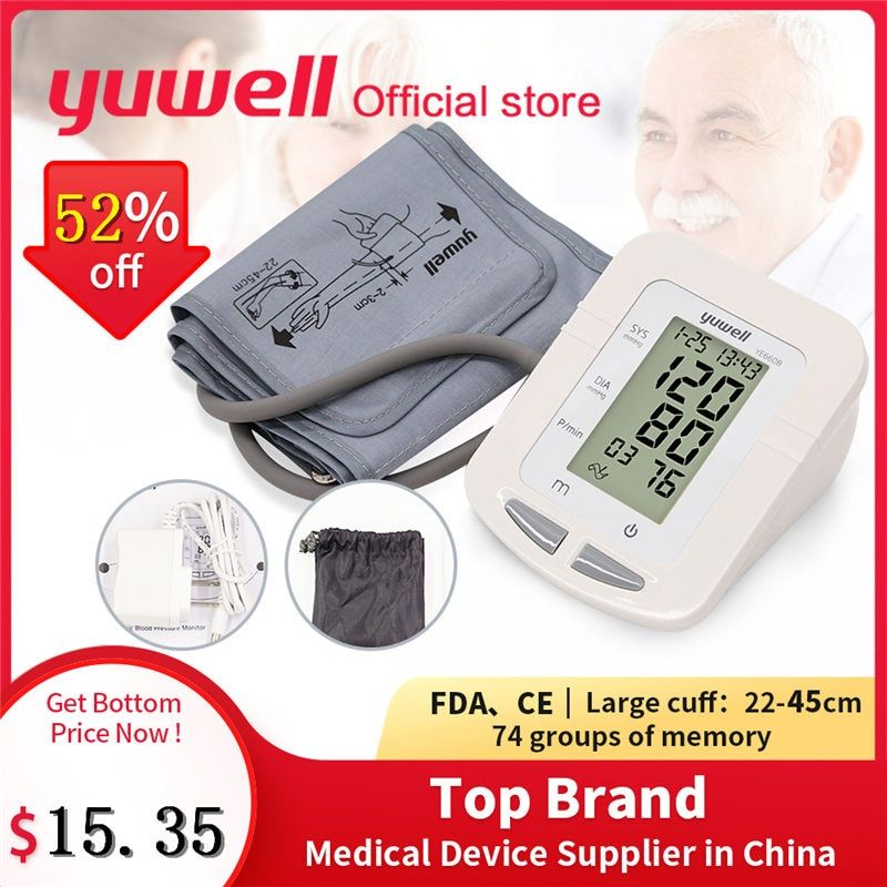 Yuwell 660B bras tensiomètre grand LCD brassard médical infirmière dispositif sphygmomanomètre pression artérielle maison santé Dector