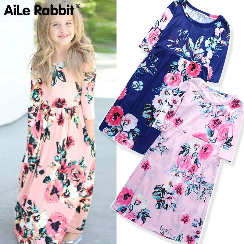 Automne Floral fille robe Style Rural fleur robe pour les filles 0-8 ans Europe et amérique INS vêtements