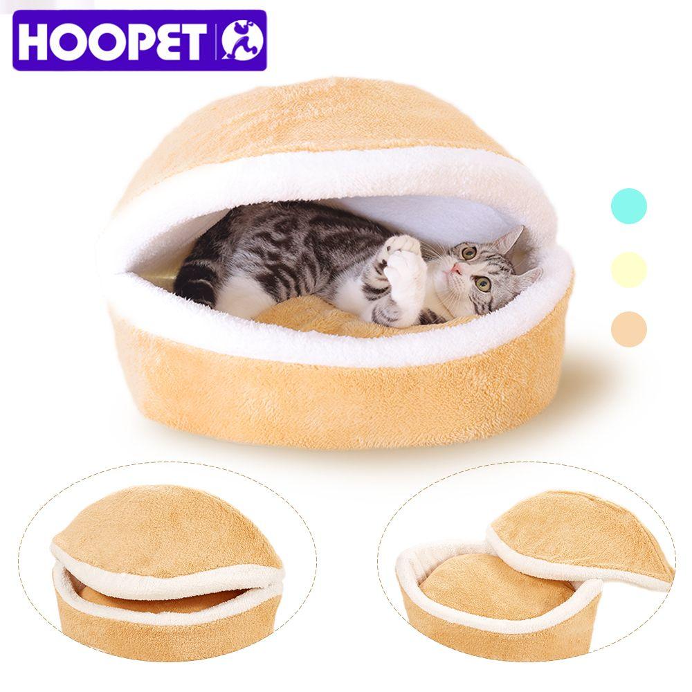 HOOPET chaud chat lit maison Hamburger lit démontabilité coupe-vent animal chiot nid coquille cachant Burger chignon pour l'hiver