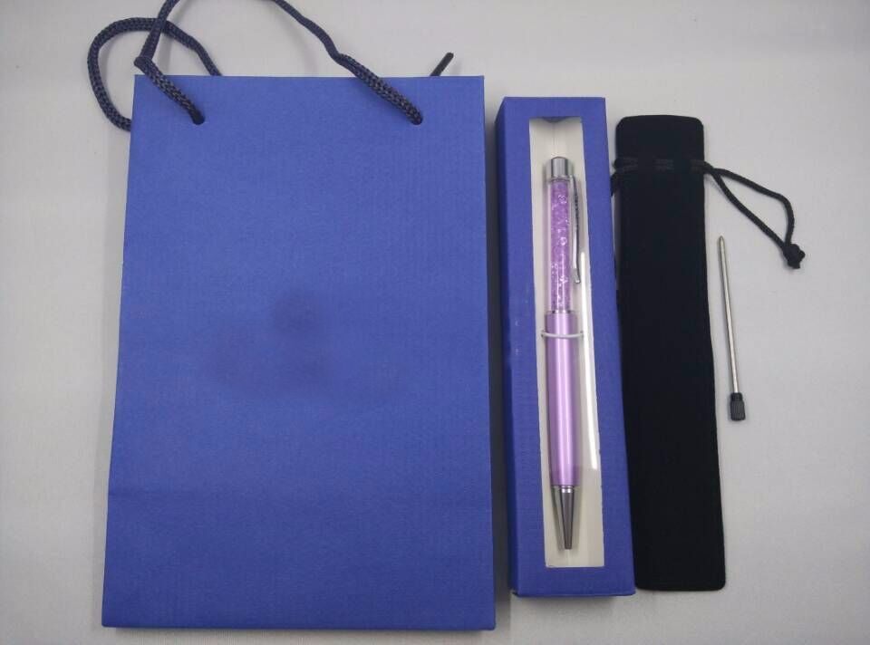 crystal pen gift bag and pen box and velvet pouch and refill diamond lady student lovely crystals stellar Pen