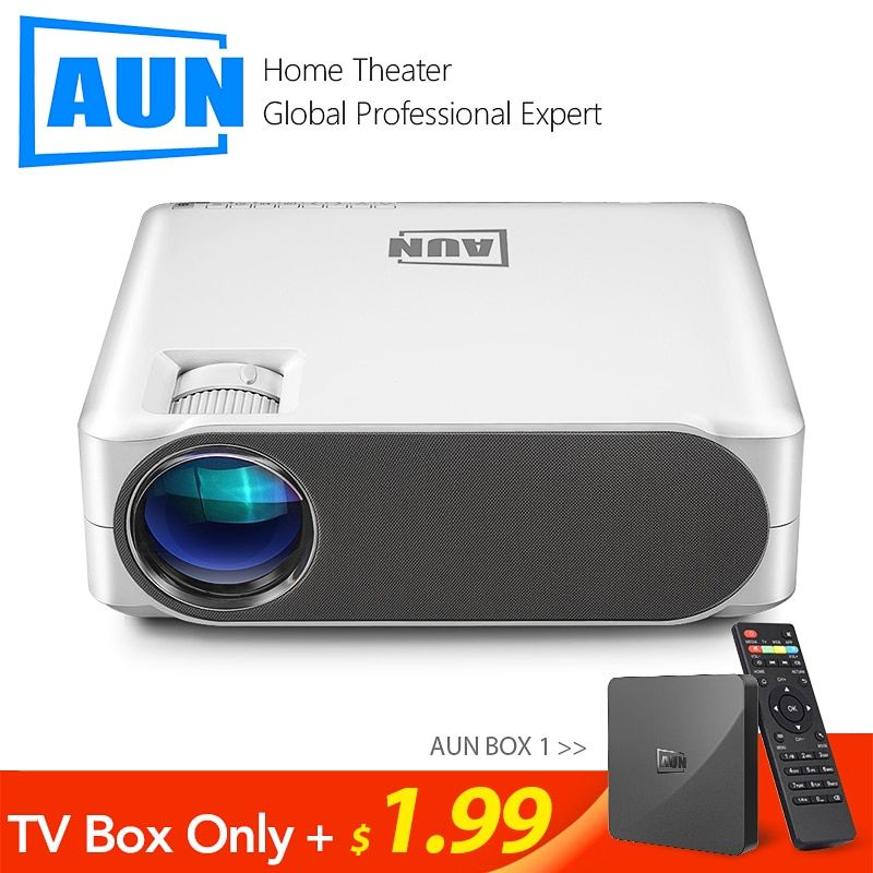 AUN Full HD Projektor AKEY6S, 1920x1080 P, Android WIFI 3D Video Beamer, MINI LED Projektor für 4K Hause Kino. (Optional AKEY6)