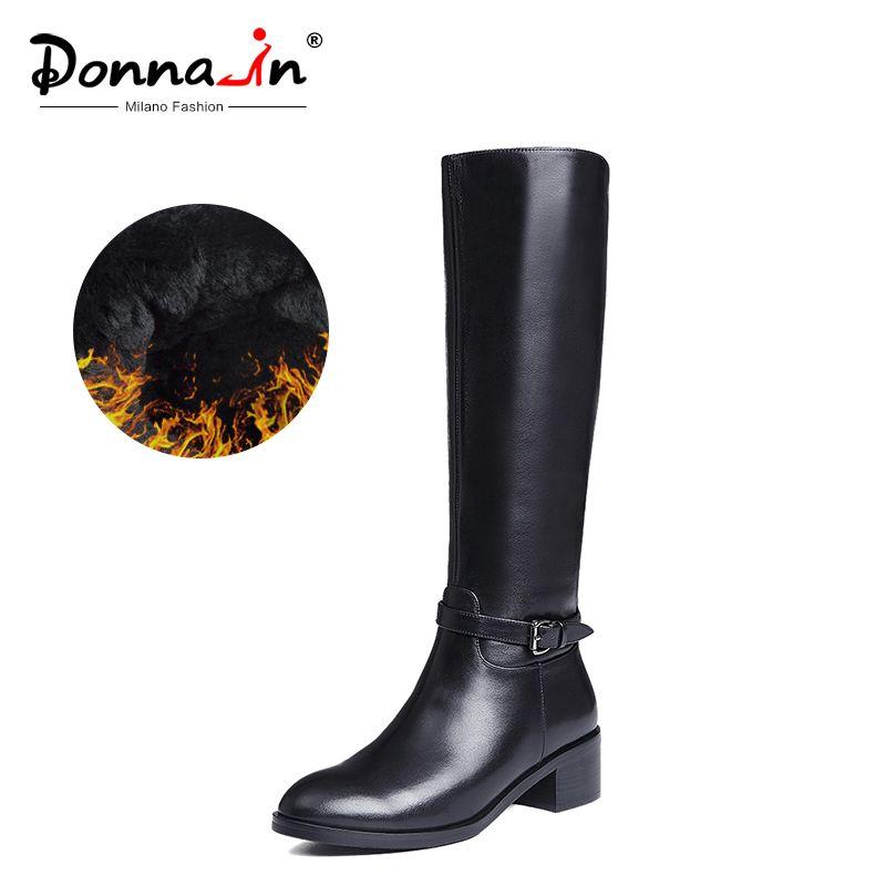 Donna-in Winter Stiefel Frauen Kniehohe Stiefel Fell Warme Stiefel Neue Mode Echt Leder Frauen Schuhe Runde Kappe ferse Schwarz Damen 2019