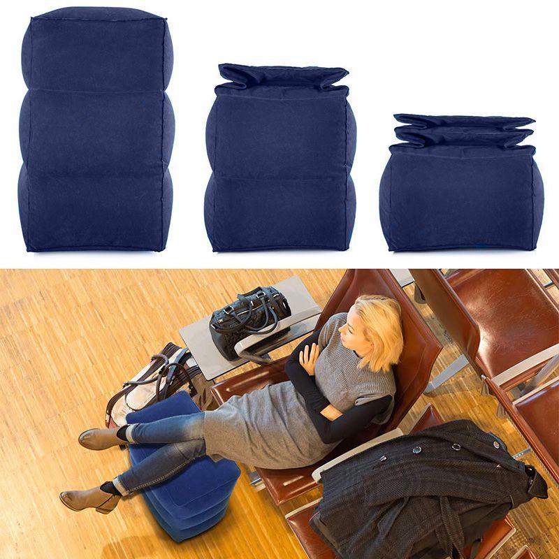 Coussin d'oreiller de pied gonflable de voyage réglable enfants vol dormir oreiller de repos sur l'avion