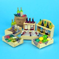 1:12 dollhouse miniature 9 style Mini wine bottles fruit Box candy food toy match for forest animal family collectible Gift