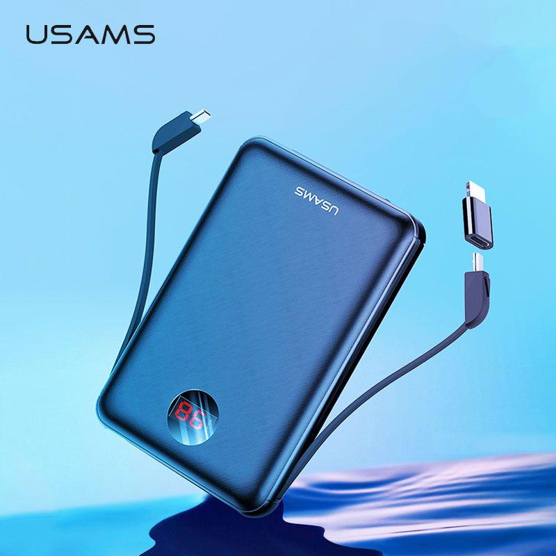 USAMS batterie externe LED affichage mi ni Powerbank batterie externe batterie pauvre charge Pover bank avec câble USB pour xiaomi mi iPhone