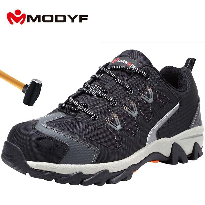 MODYF hommes embout en acier chaussures de sécurité décontracté travail casual réfléchissant respirant en plein air Sneaker bottes chaussures de protection anti-crevaison