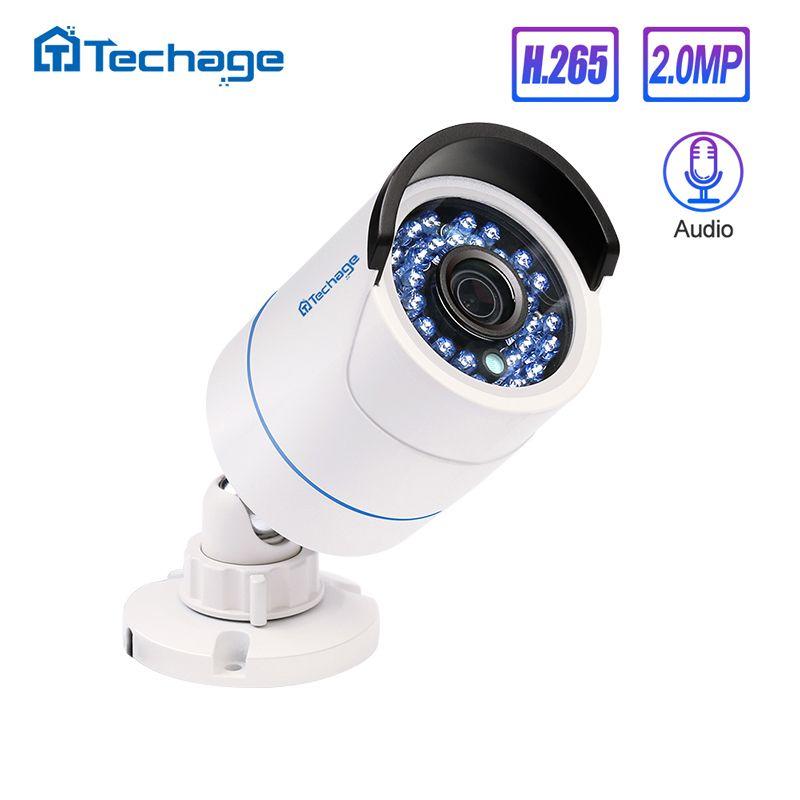 Techage H.265 HD 1080P 2.0MP enregistrement Audio CCTV caméra IP POE extérieure étanche IR P2P Onvif caméra de Surveillance de sécurité balle