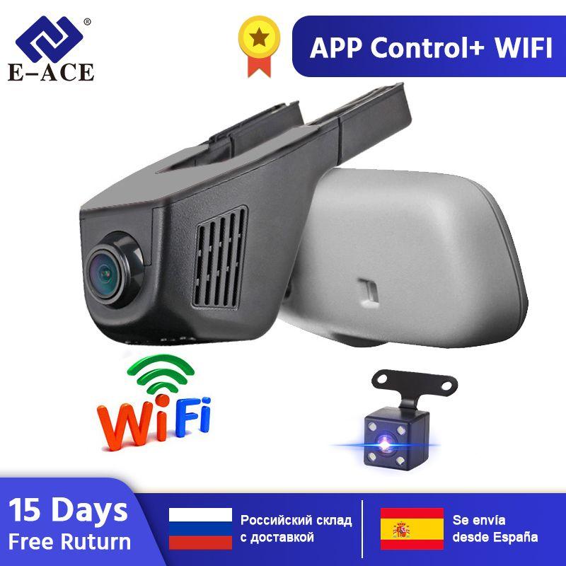 E-ACE Voiture Dvr WIFI Dvr Double Objectif de la Caméra Registrator Dashcam Vidéo Numérique Enregistreur Caméscope Full HD 1080 P 30FPS Nuit Version