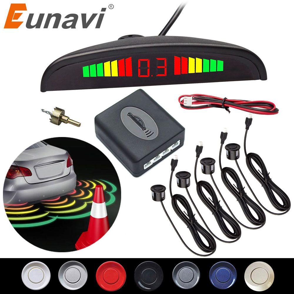 Eunavi 1set Auto Parktronic Led Kit de capteur de stationnement affichage 4 capteurs pour toutes les voitures Assistance inverse système de surveillance Radar de secours
