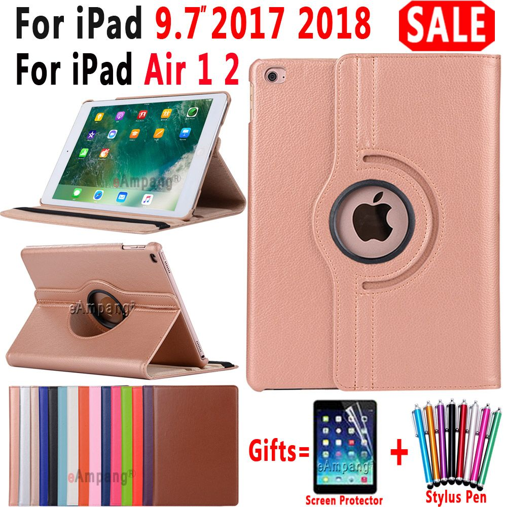 Pour iPad 9.7 2018 2017 housse pour iPad Air 2 Air 1 étui 5 6 5th 6th génération Funda 360 degrés rotation en cuir Coque intelligente