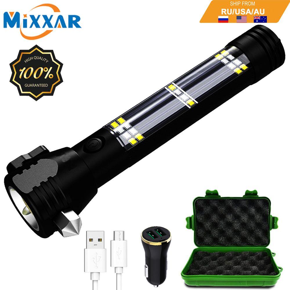 EZK20 livraison directe lampe de poche LED 5000 Lumens solaire USB Rechargeable tactique multi-fonction torche voiture outil d'urgence boussole
