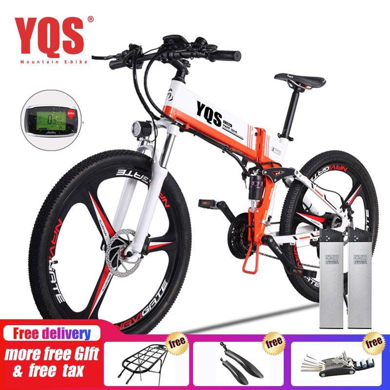 YQS Elektrische Fahrrad 350 W/500 W 110 KM 21 Geschwindigkeit batterie ebike elektrische 26
