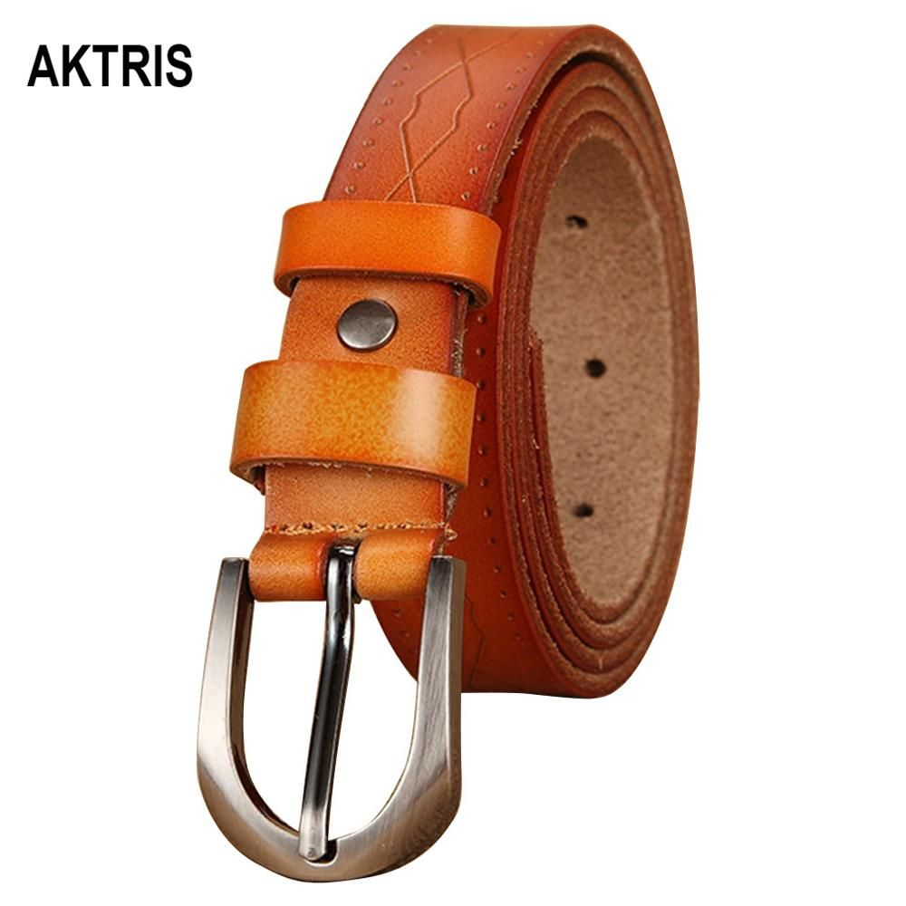 AKTRIS Retro 100% Echte Kuh Echtes Leder Gürtel Schnalle Metall Metall Roten Gürtel für Frauen 2,3 cm Breite Kleidung Zubehör FCO011