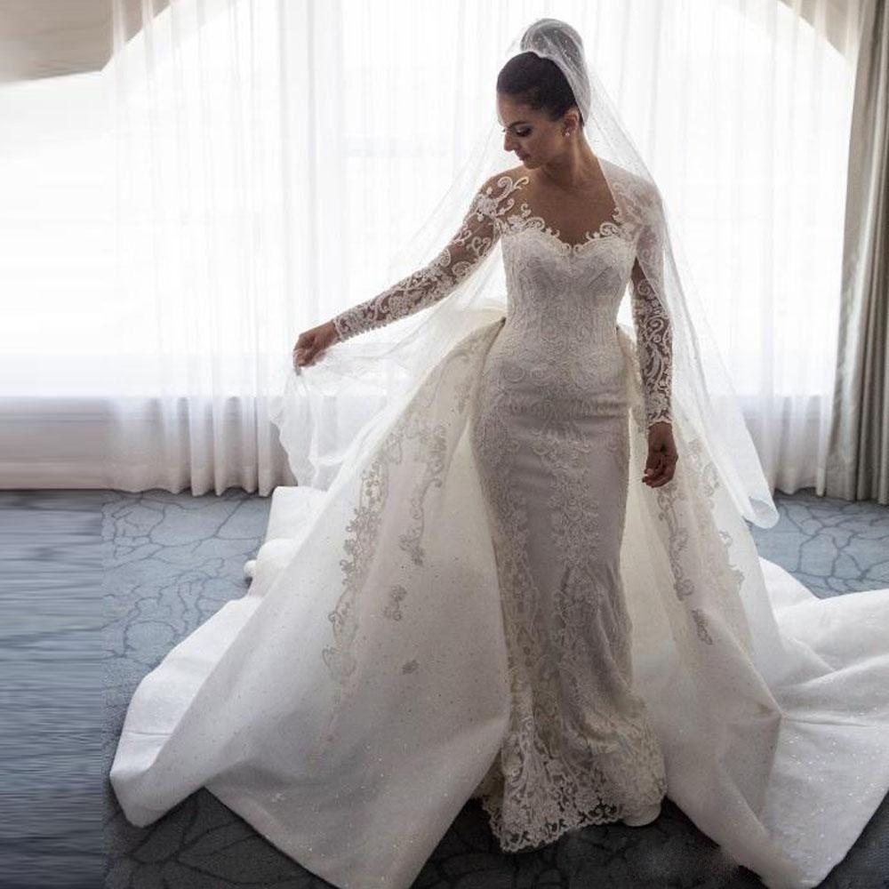 Abnehmbare Zug Meerjungfrau Langarm Tüll Spitze Perlen Appliques Sexy Luxus Brautkleider Formal Brautkleid SV04