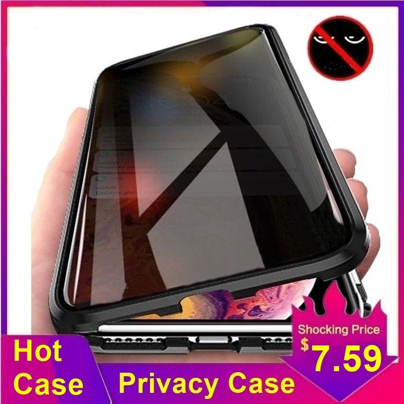 Tongdaytech Confidentialité Magnétique étui pour iphone XS XR X 6 6s 7 8 Plus 11 Pro MAX Aimant En Métal Couvercle En Verre Trempé 360 Funda Cas