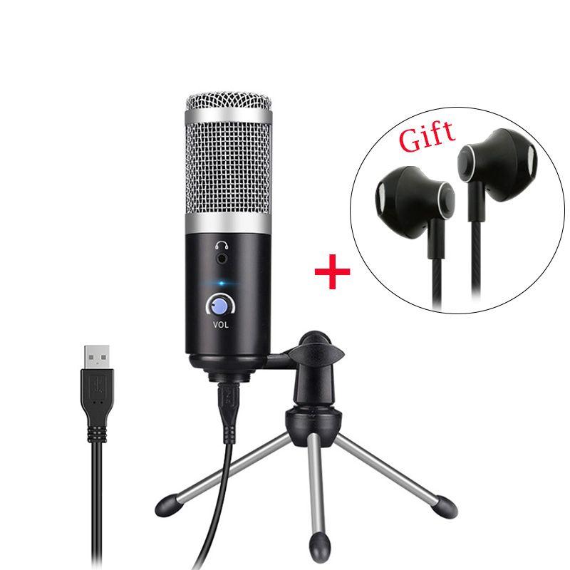 Condensateur de Microphone professionnel pour ordinateur PC prise USB + support de trépied enregistrement de diffusion YouTube micro fone karaoké Mic