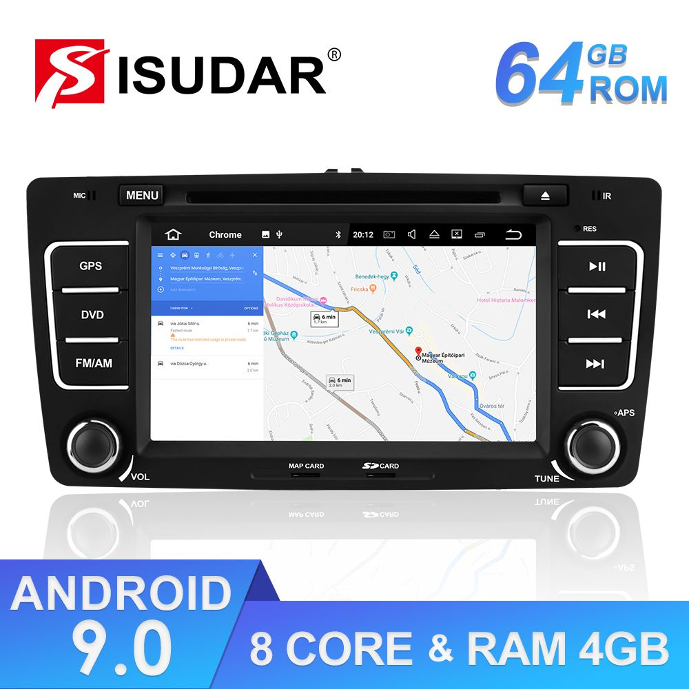 Isudar 2 Din Auto Radio Android 9 Für SKODA/Yeti/Octavia 2009 2010 2012 RAM 4G ROM 64GB 8 Core Auto Multimedia DVD Player GPS DVR
