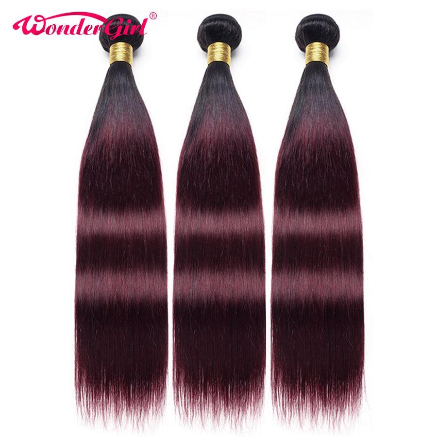 Wonder girl Ombre cheveux raides paquets 1B 99J/bourgogne deux tons brésiliens cheveux humains armure faisceaux peuvent acheter 3/4 paquets Non Remy