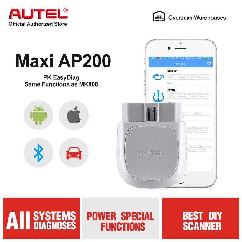 Autel AP200 Bluetooth Stecker OBD2 Scanner OBD 2 Code Reader Volle Systeme Diagnosen AutoVIN TPMS IMMO Service PK MX808 Mk808