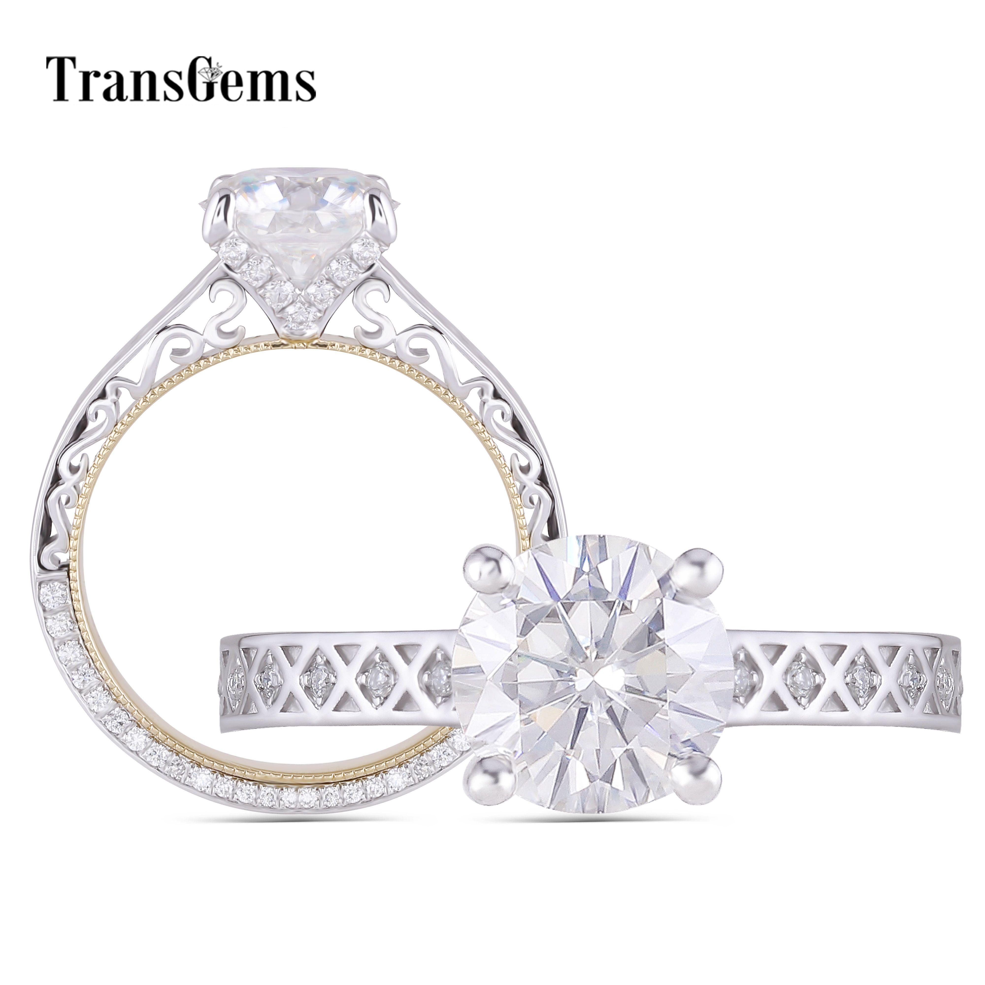 Transgems 14K Weiß und Gelb Gold 2ct 8mm F Farbe Moissanite Vintage Engagement Ring mit Akzente Für Frauen jahrestag Geschenke