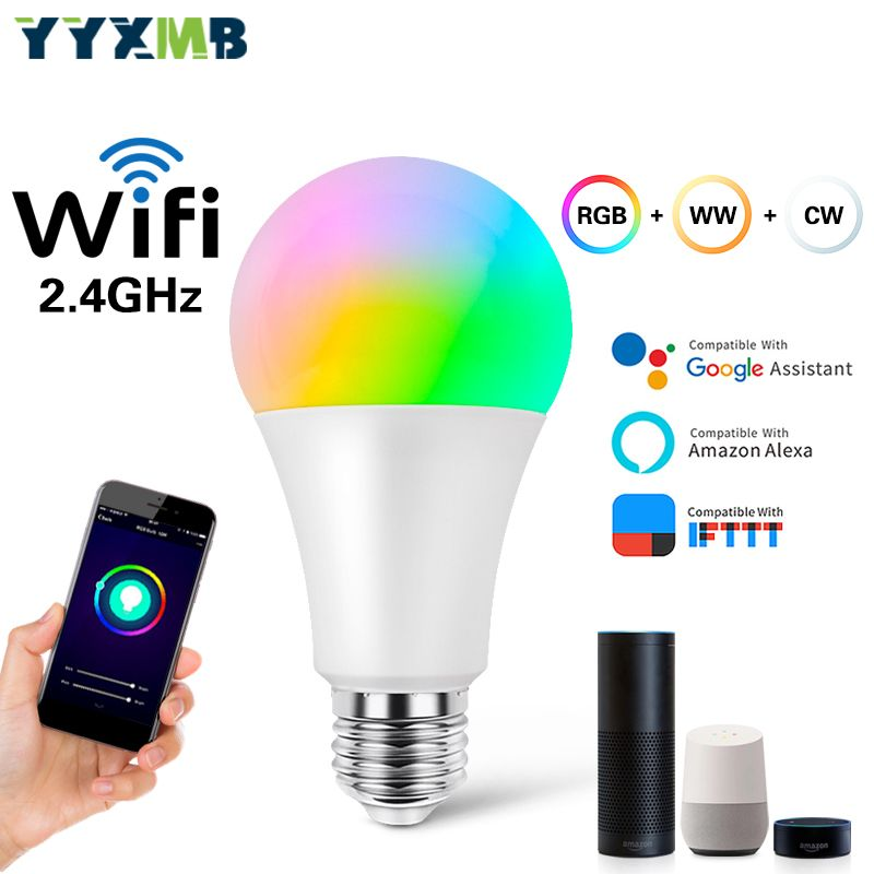 YYXMB lampe à LED Intelligent WiFi ampoule RGB + WW + CW Compatible Amazon ECHO/Google Home/IFTTT commande vocale