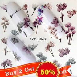 FWC 1 Sheet Vivid Flamingo Unicorn Flower Water Decal Red Purple Pink Black Manicure Nail Art Transfer Sticker
