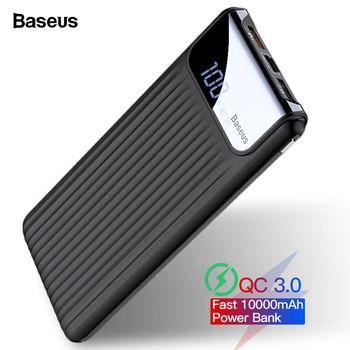 Baseus Quick Charge 3.0 10000mAh Power Bank LCD 10000 mAh QC3.0 Fast Powerbank Portable External Battery Charger For Xiaomi mi 9