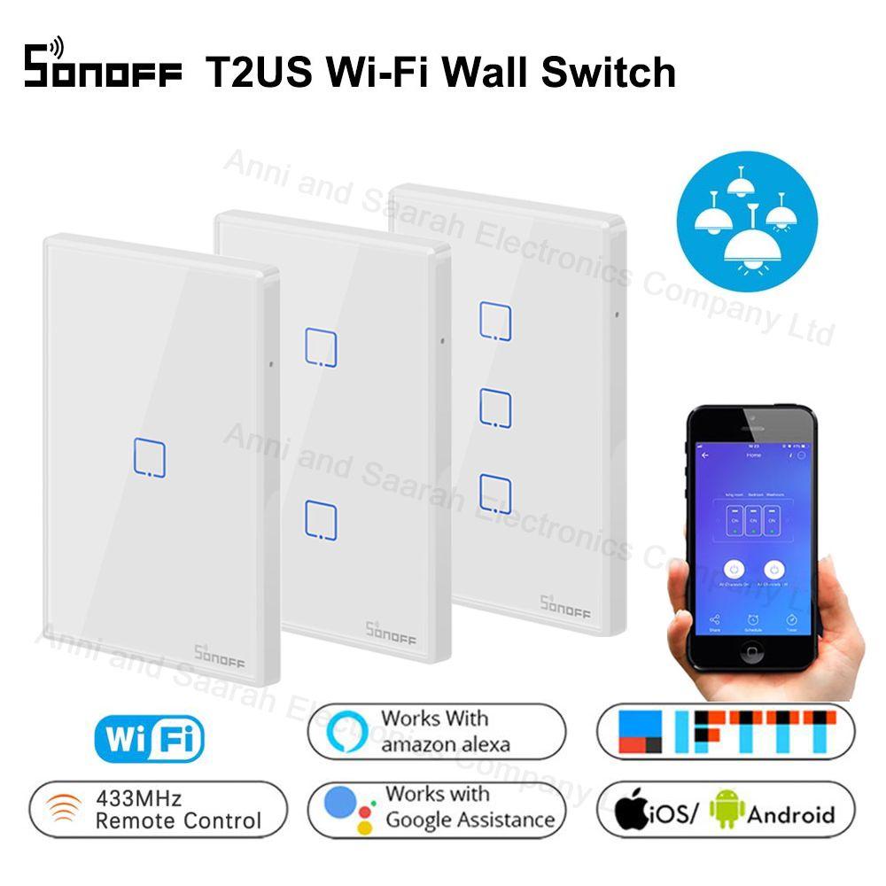 Sonoff T1 WiFi interrupteur de lumière tactile mural intelligent US 1 2 3 Gang RF lumière à distance sans fil contrôleur de maison intelligente travailler avec Google Home