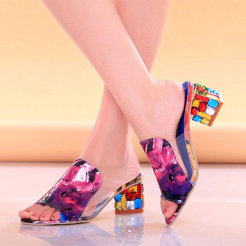 Lucyever femmes mode coloré strass talons hauts sandales pantoufle Sexy Peep Toe couleur mélangée fête plage tongs femme