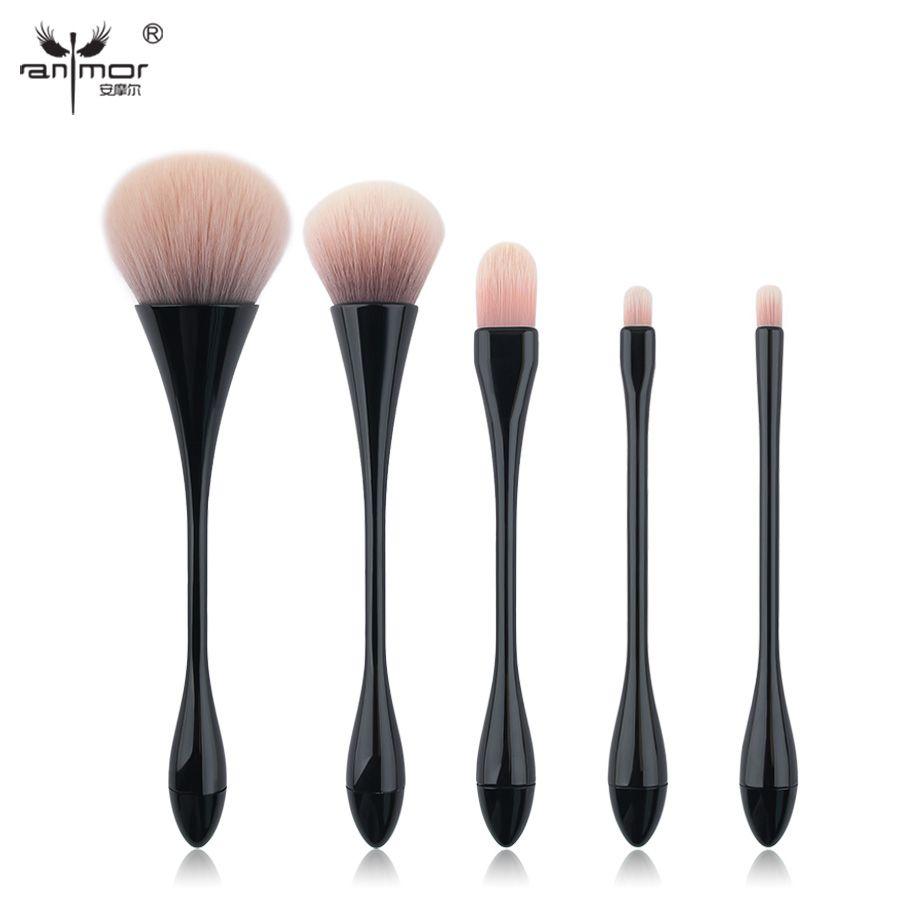 Constituées d'anmoor Haute Qualité Pinceaux De Maquillage Set 5 pièces Synthétique Taille Mince Maquillage Brosses Kit Poudre Pinceau Correcteur Brosse Noir HT01