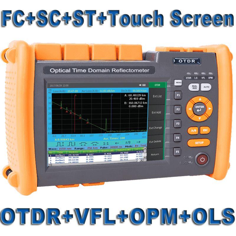 Fiber Optic OTDR Optische Faser Reflektometer Gebaut in VFL OLS OPM mit FC SC ST Touchscreen Bericht Drucken 1310nm 1550nm 32 30dB