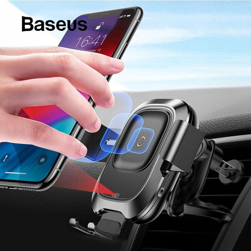 Support pour téléphone de voiture Baseus pour iPhone Samsung Intelligent infrarouge Qi chargeur de voiture sans fil support d'évent support pour téléphone Mobile