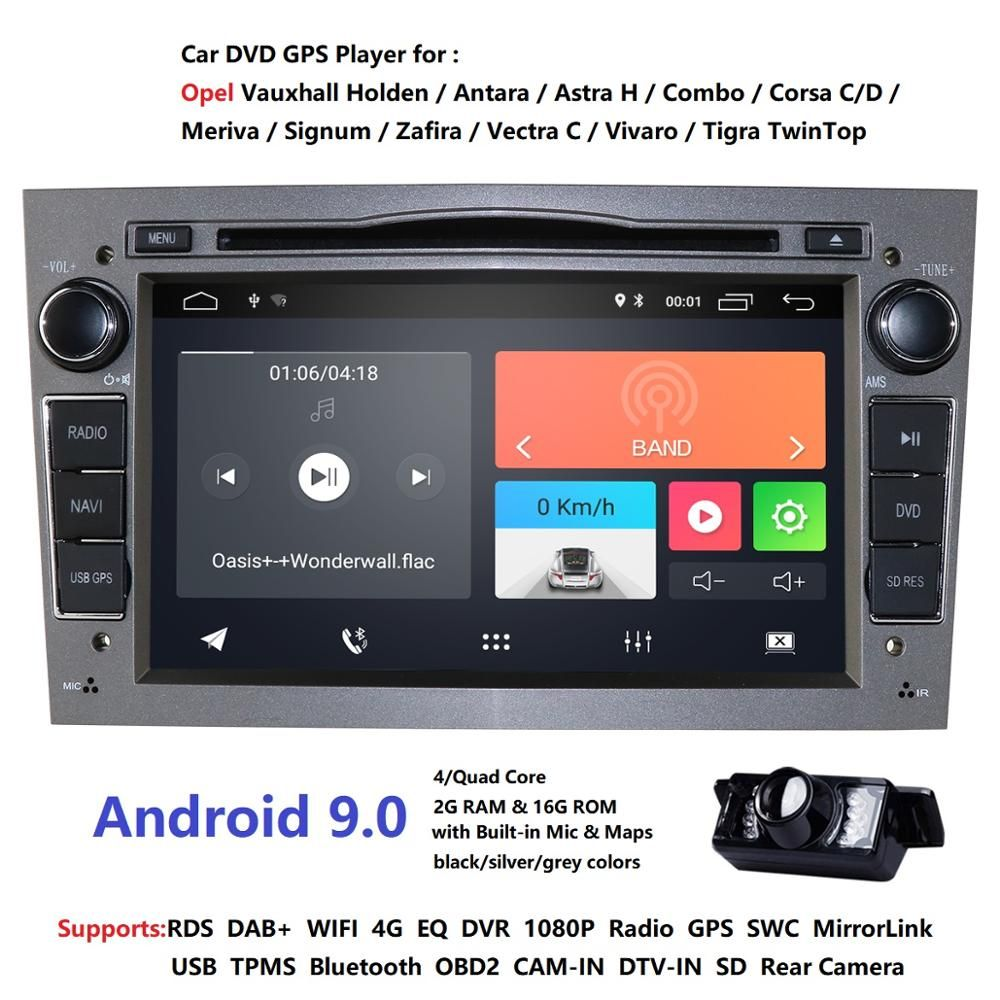 2din Android9.0 lecteur multimédia CarDVD Navigation GPS pour Opel Astra H Opel Combo Opel Corsa avec CAN-BUS 2 grammes 4G RDS DSP DAB
