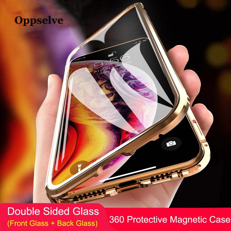 360 Double Sided Glass Magnetic Adsorption Phone Case For iPhone XR XS Max X 8 7 6 6S Plus Metal Magnet Tempered Glass Capinhas