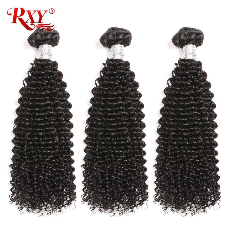 Afro crépus bouclés cheveux paquets 3 pièces lot brésilien cheveux armure paquets RXY Remy cheveux humains paquets tisse 10-28 pas d'enchevêtrement et perte