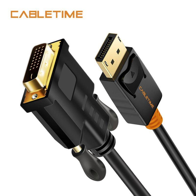Cabletime Port d'affichage vers DVI câble mâle vers mâle DisplayPort DP vers DVI adaptateur de connexion 1080P 3D pour HDTV PC projecteur N080