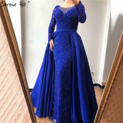 Luxury Pink  Mermaid  Evening Dresses Emeradald  Green Train Long Sleeves Beading Crystal Evening Gown 2019 LA6172